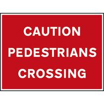 Caution Pedestrians Crossing Non Reflective Site Traffic Sign