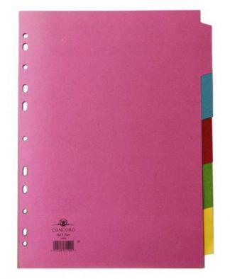 Multicoloured A4 5 Part Divider