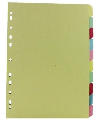 Multicoloured A4 10 Part Divider