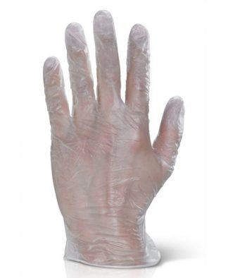 CLEAR VINYL POWDER FREE DISPOSABLE GLOVES (BOX OF 100)